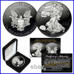 Black RUTHENIUM SILHOUETTE 1 Troy Oz US Mint 2018 American Silver Eagle with Box