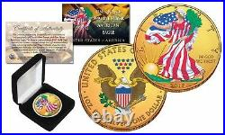 Combo 24K GOLD GILDED / COLOR 2017 American Silver Eagle 1 Oz. 999 Coin with Box