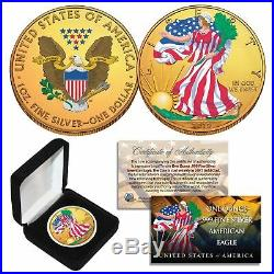 Combo 24K GOLD GILDED / COLOR 2019 American Silver Eagle 1 Oz. 999 Coin with Box