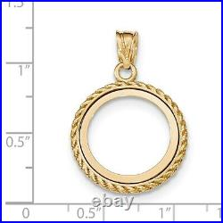 Genuine 14k Yellow Gold Casted Rope 1/10 oz American Eagle Coin Bezel