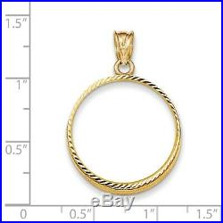 Genuine 14k Yellow Gold D/C Prong 1/4 oz American Eagle Coin Bezel