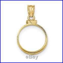 Genuine 14k Yellow Gold D/C Screw Top 1/10 oz American Eagle Coin Bezel