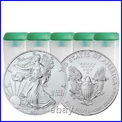 Lot of 100 2021 $1 Type 1 American Silver Eagle 1 oz Brilliant Uncirculated