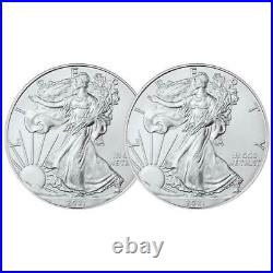 Lot of 2 2021 $1 Type 1 American Silver Eagle 1 oz Brilliant Uncirculated