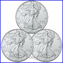 Lot of 3 2021 American Silver Eagle T-1 BU Brilliant Uncirculated Coins