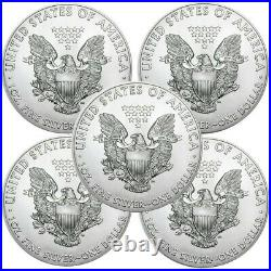 Lot of 5 2010 1 oz. 999 American Silver Eagle $1 Coins BU IN STOCK