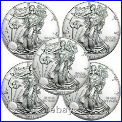 Lot of 5 2021 American Eagle Coins 1 oz. 999 Fine Silver IN-STOCK
