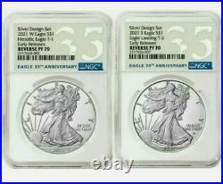 NGC PF70 American Eagle 2021 One OZ Silver Reverse Proof Two Coin Set Designer