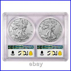 Presale 2021 $1 T1 and T2 Silver Eagle Set PCGS MS70 First and Last Day of Pro