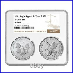 Presale 2021 $1 Type 1 and Type 2 Silver Eagle Set NGC MS69 Brown Label