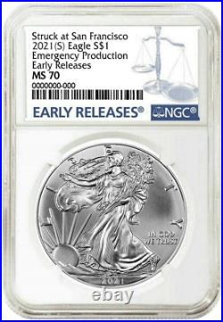 Presale 2021 (S) Silver Eagle NGC MS70 Early Releases Emergency Production