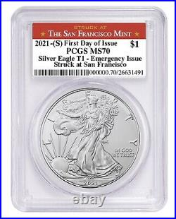 Presale 2021 (S) Silver Eagle PCGS MS70 First Day of Issue Emergency Issue SF