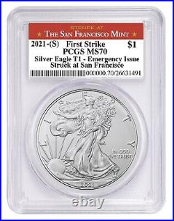 Presale 2021 (S) Silver Eagle PCGS MS70 First Strike Emergency Issue SF Label