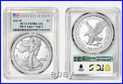 Presale 2021 W $1 AMERICAN SILVER EAGLE TYPE 2 PCGS PR70 DCAM FIRST DAY ISSUE