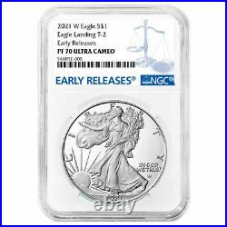 Presale 2021-W Proof $1 Type 2 American Silver Eagle NGC PF70UC ER Blue Label