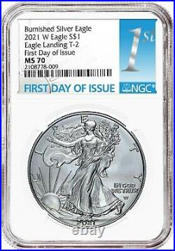 Presale 2021-W Type-2 Burnished American Silver Eagle NGC MS70 First Day of Issu