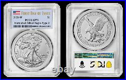 Presale 2021-W Type-2 Burnished American Silver Eagle PCGS SP70 First Day Flag